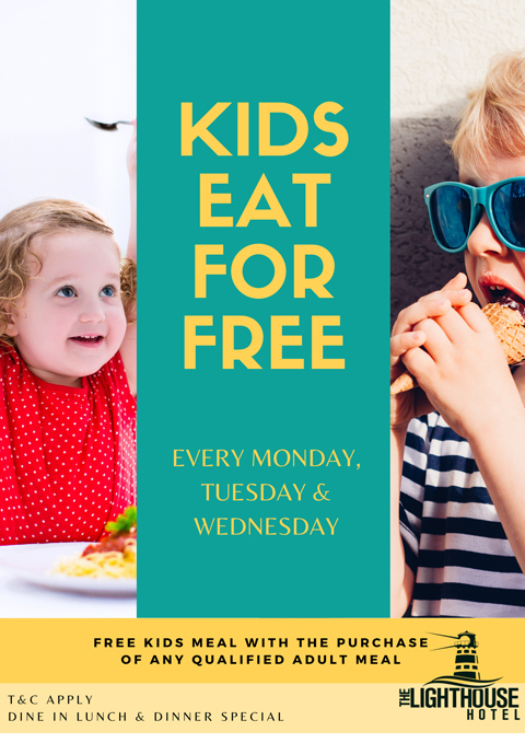 Kids eat for free flyer